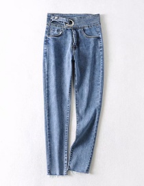 Fashion Blue High-rise Stretch-denim Jeans