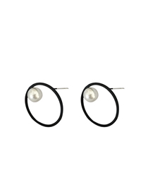 Fashion Black Circle Pearl Stud Earrings