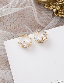 Fashion Gold 925 Silver Needle Circle Rhinestone Pearl Earrings