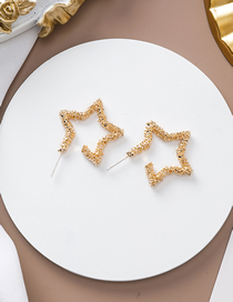 Fashion Star 925 Silver Pin Metal Bump Texture Love Five-pointed Star Stud Earrings