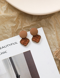 Fashion Brown 925 Silver Needle Woven Texture Square Stud Earrings