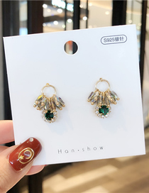 Fashion Ab Color 925 Silver Needle Crystal Tassel Earrings