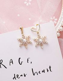 Fashion Asymmetric Love 925 Silver Needle Full Diamond Snowflake Pearl Earrings