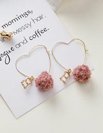Fashion Pink Letter Heart Shaped Pompom Earrings