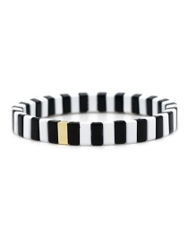 Black + White Long Strip Alloy Paint Color Retaining Bracelet