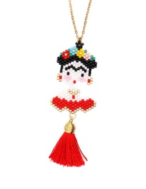Red Woven Fulida Stainless Steel Necklace