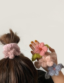 Purple Knitted Flower Hair Rope  Rubber Band