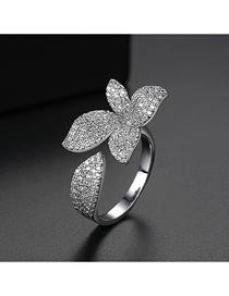 Fashion Platinum Adjustable Copper Inlaid Zirconium Flower Opening Ring