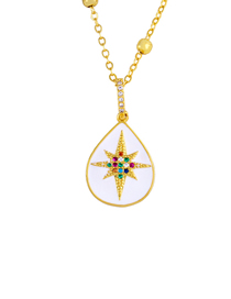 Fashion Water Droplets Water Drops Geometric Drops Micro-inlay Diamond Star Necklace