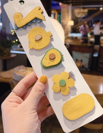 J Yellow Small Flower Avocado 5 Piece Set Cartoon Animal Child Hair Clip  Alloy