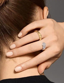Fashion Golden Spelled Silver Grid-shaped Piece Of Diamond-encrusted Open Serpentine Ring