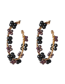 Fashion Black C-shaped Pearl Earrings