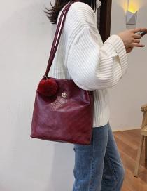 Fashion Red Wine Scrub Splicing Tassel One Shoulder Messenger Bag