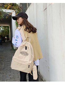 Fashion Creamy-white Letter Printed Backpack