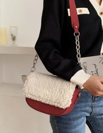 Fashion Red Wine Lamb Velvet Chain Shoulder Messenger Bag