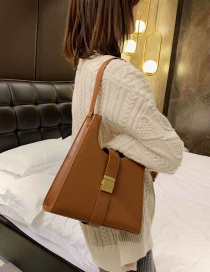 Fashion Brown Lock Shoulder Bag