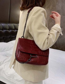 Fashion Red Wine Stone Chain Single Shoulder Messenger Bag