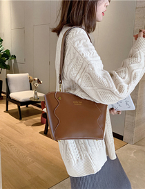 Fashion Brown Stitched Shoulder Bag