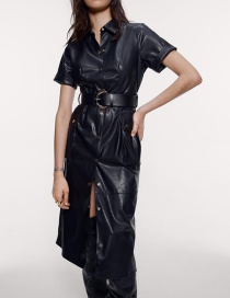 Fashion Black Faux Leather Dress