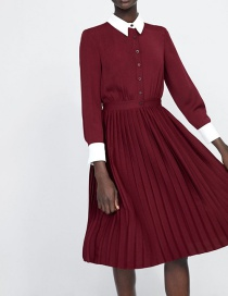 Fashion Red Wine Shirt Dress