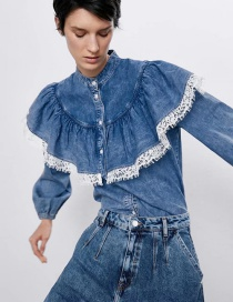 Fashion Blue Lace Denim Shirt