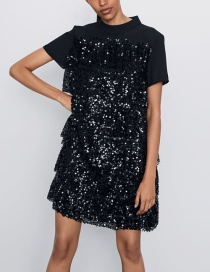 Fashion Black Sequin Dress