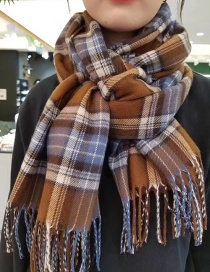 Fashion Blue + Brown Plaid Imitation Cashmere Fringed Scarf Shawl