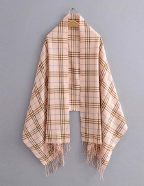 Fashion Pink Single Plaid Imitation Cashmere Fringed Scarf Shawl