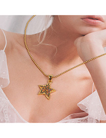 Fashion Golden Stainless Steel Bead Chain Pentagram Star With Diamonds