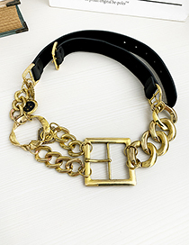 Fashion Black Alloy Pu Chain Stitching Square Belt