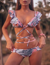 Fashion Foundation White Leaves (excluding Beach Skirt) Lace-up Split Swimsuit