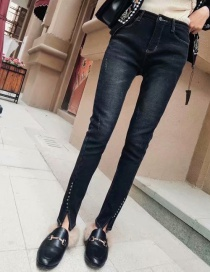 Fashion Black Washed Studded Velvet Jeans