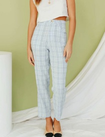 Fashion Light Blue Check Print Straight-leg Pants