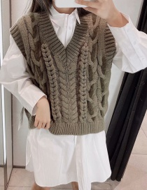 Fashion Grey-green Eight-knit Knitted Vest