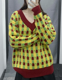 Fashion Yellow V-neck Checked Sweater