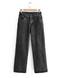 Fashion Black Washed High-rise Wide-leg Jeans