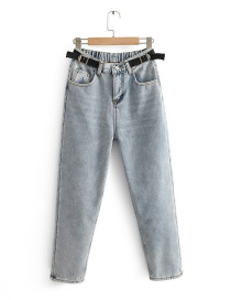Fashion Blue Washed Velvet Straight Jeans