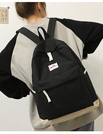 Fashion Black Canvas Contrast Stitched Label Backpack