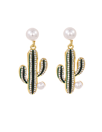 Fashion Green Alloy Diamond Pearl Cactus Stud Earrings