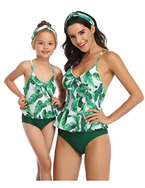 Fashion Green Leaf Siamese Printed Knotted Parent-child One-piece Swimsuit For Children