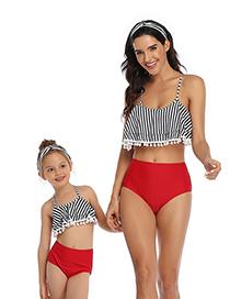 Fashion Vertical Ball Hollow Lotus Leaf Parent-child Bikini Children