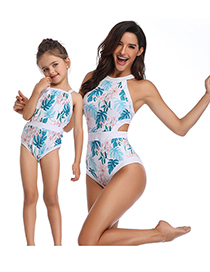Fashion Blue Printed Conjoined Leaf Print Stitching Parent-child One-piece Swimsuit For Children