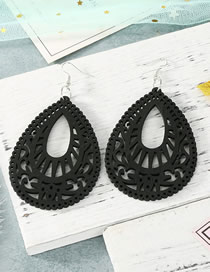 Fashion Black Carved Hollow Wood Large Water Drop Earrings