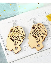 Fashion Beige Carved Hollow Head Wood Large Earrings