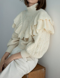 Fashion Beige Stacked Eight-strand Knitted Sweater