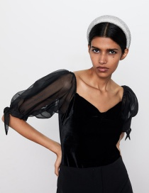 Fashion Black Panelled Velvet Bodysuit