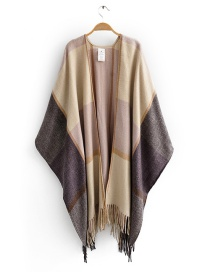 Fashion Pink Faux Cashmere Fringed Striped Shawl Scarf