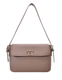 Fashion Mud Color Locked Flap Shoulder Bag