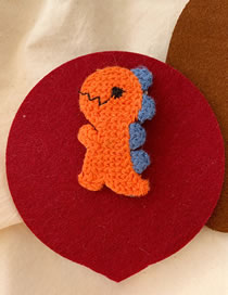 Fashion Orange Wool Dinosaur Hairpin
