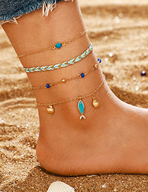 Fashion Golden Shell Fish Fish Anklet Set Of 4